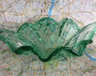 Mid Century Green Art Glass Bowl Dish - Excellent Condition