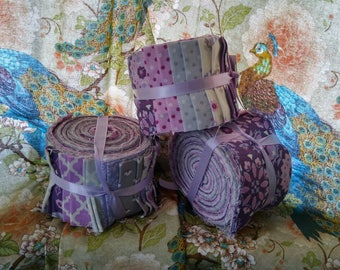 Owl Fabric Strips Jelly Roll Purple and Grey 40 pieces 10 Different Prints