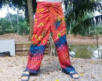 """Tie Dye Fisherman Pants Thai Long Wrap Pants Hippie Travel Beach 44""""  Red Blue Mix"""
