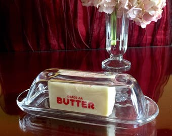 Clear Glass Retro Butter Dish Covered Lid Tableware Classic Holiday Kitchen Decor Dining Breakfast Serving Wedding Gift Party Hostess Gift