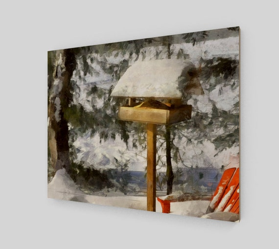Wood Print, Birdfeeder in Winter, 16 x 20 inches, winter art, wood art, home decor, wall art, home and living, landscape painting, Canada