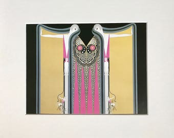 Original Erté Vintage Art Deco Fashion Book Plate print - 'Twin Sisters' - Matted and Mounted for framing * Sumptuous semi-gloss color
