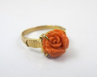 Victorian Carved Coral Flower Ring, Yellow Gold Filled Salmon Red Coral Rose, Antique Gold Coral Jewelry,  Size 6