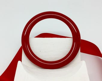 Rich Red Bracelet-Large Fused Glass Bangle Bracelet