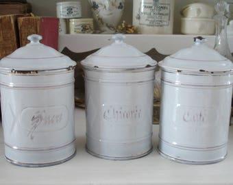 Antique large enamel stock cans France