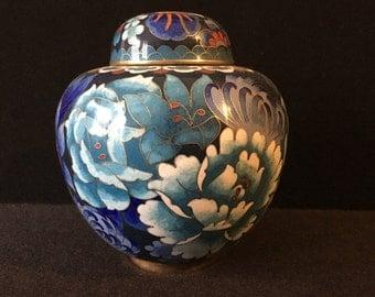 Blue Chrysanthemum Cloisonné Chinese Ginger Jar Tea Caddy Signed