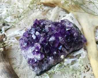 medium Uruguayan amethyst cluster - intense deep purple quartz crystal mineral display specimen