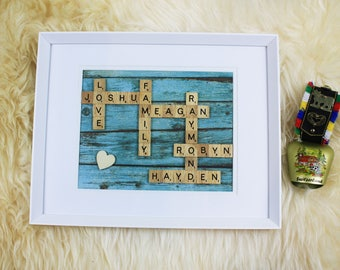 Custom Scrabble Frame for any occasion - Woody Blue