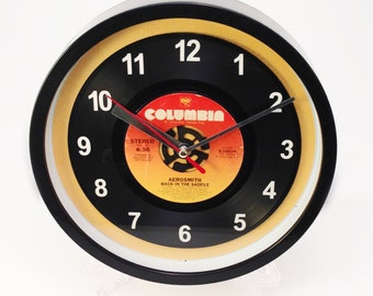 "Aerosmith ""Back In The Saddle"" Record Clock 7"" 45rpm Recycled Vinyl Record Wall Clock One Of A Kind"