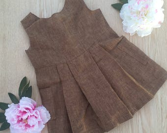 Brown linen dress pleated with pockets size 3T