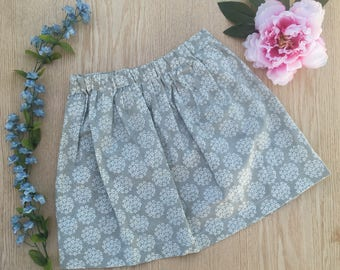 Grey floral cotton skirt size 5T