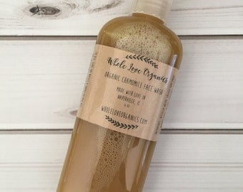 Organic Chamomile Face Wash - Vegan Face Wash - Natural Face Wash - Non Toxic Cleanser - Essential Oils