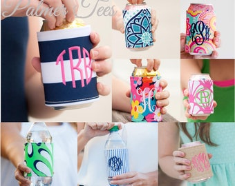 Monogrammed Drink Wraps Available in 8 Colorful Patterns! (High Quality Beach / Summer Velcro Can Cooler Embroidered w. Monogram)