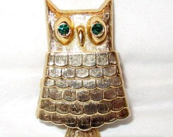 Vintage Goldtone Figural OWL BROOCH Locket PIN w/ Solid Perfume Glace' inside / Avon Green Rhinestone Eyes / Replace w/ Essential Oils 1970s