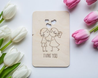 St. Valentine's Card Wood Anniversary Card Valentine Card Laser Cut and Etched on Wood Card I love you