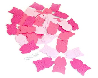 120 Mixed Pink embossed Owl double-sided Cut-outs, Confetti - Set of 120 pcs