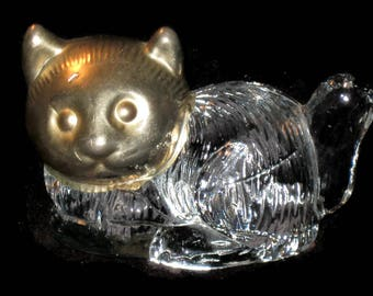 Vintage Glass Cat, Paperweight Cat, Home Decor, Gold Trim, Vintage Glass, Cat Home Decor, Desk Decor, Paperweight, Figurines, Cat Figurine