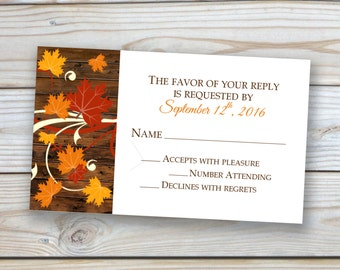 Fall Wedding 3x5 RSVP Card featuring Fall Leaves and Wood Background