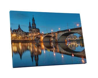 Castles and Cathedrals Hofkirche and Bridge over the River Elbe in Dresden Gallery Wrapped Canvas Print