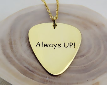 Gold Guitar Pick Necklace,Engraved Guitar Pick Necklace,Handwriting Guitar Pick,Signature Guitar Pick Pendant,Personalized Jewelry