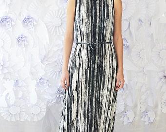 Summer Dress,Semi Formal Bodycon Dress,Black and White Sleeveless Dress,Shift Maxi Jersey Dress,Party Dress,Long Dress,ATTITUDE157 Dress