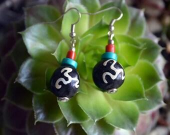 Simple recycle OM om mantra wood bead Peace Yoga handmade earrings.