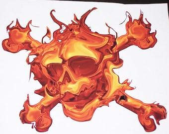 Fire Skull cross bones Truck Window Decal Decals Stickers Graphics Golf cart Car Rear