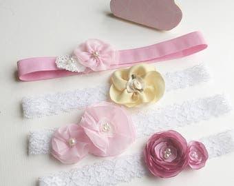 Flower headbands for toddler flower girls and girl ring bearers, Christening headbands, birthday party headbands