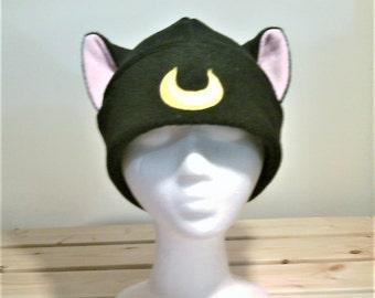 Luna Sailor Moon Cat Hat - Luna Hat - Luna Cat Hat - Cat Ears - Fleece Cat Ear Hat - Luna Cosplay Hat - Luna Cat Anime - Luna Cat Cosplay
