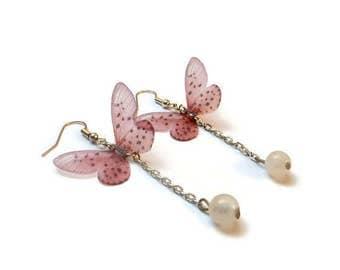 Earrings rose quartz Butterfly pink butterfly earring
