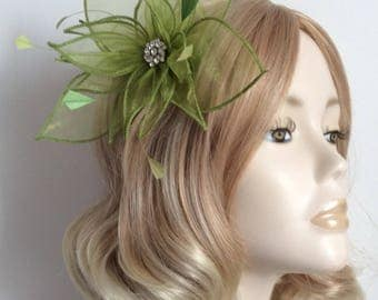 GREEN ORGANZA FASCINATOR, With feathers, Crystal detail, on clip