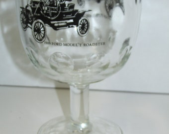 Vintage 1909 Ford Model T  Roadster Glass Goblet