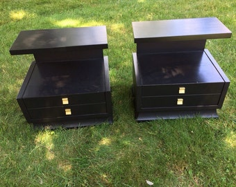 Black Mid-Century Modern Nightstands End Tables Original Hardware - Pair