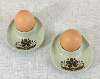 Pair of Norwegian Figgjo retro porcelain egg cups with brown floral pattern