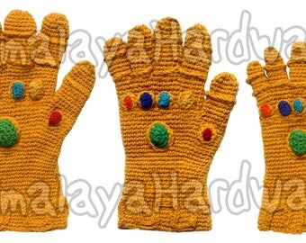 Infinity Gauntlet Gloves: yellow crochet gems marvel costume cosplay Thanos knit wool