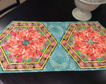 Springtime quilted hexagon table runner, peach and turquoise colors, patio table topper, dresser runner, coffee table mat,