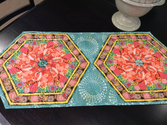 Springtime Quilted Hexagon Table Runner Peach And Turquoise