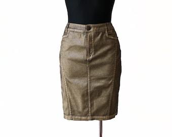 Vintage Golden Black Low Waist Pencil Skirt Cotton Midi Skirt Size M