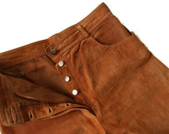 90's High Waist Rust Suede Leather Women's Pants Large Size