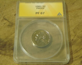GRADED 1961 Jefferson Nickel PF67 - ANACS Professional Graded and Authenticated