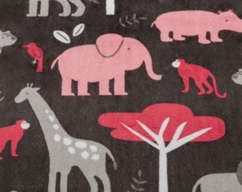 NEW Jungle Blanket Theme Pink Watermelon GreySafari Elephant Giraffe Lion Monkey Hippo Zebra Zoo All Sizes of Blankets Choose Color For Back