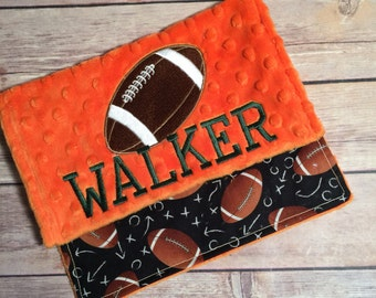 Football with name option Burp Cloth Set  Available Mix and Match  Made to Order, Monogramming Option Orange Black Sport