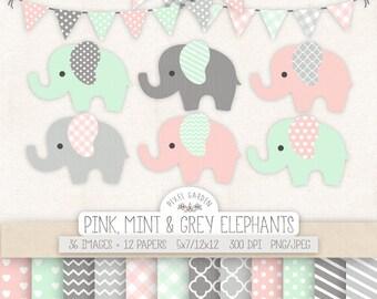 Baby Elephant Clipart. Mint, Pink Baby Shower, Nursery Clip Art. Banner in Mint, Pink, Grey. Polka Dot, Heart, Chevron, Stripe Digital Paper
