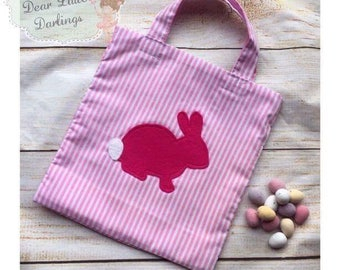 Pink Easter Bag, Easter Bunny Bag, Easter Egg Hunt, Easter Tote Bag, Easter Basket, Easter Gift, Tote Bag