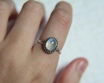 Size 7 · Moonstone Ring · Sterling Silver Ring · Rainbow Moonstone Ring · Handmade Ring