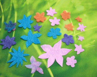 20 x Wet Felted Flowers. Merino Wool. Hand Made. Hand Cut. Mixed shapes. Mixed Colours. Craft Supply. Sew-on flowers.