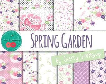 "Spring Digital Paper ""Spring Garden"" wedding digital paper, scrapbook paper, floral digital paper, scrapbook digital paper, spring, flowers"