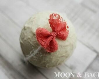 Handmade Coral Lace Bow Tieback Headband Newborn Photo Photography Prop