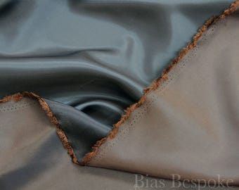 Two-Tone Blue and Brown Lining Fabric 'Chengis', Sold by the Yard