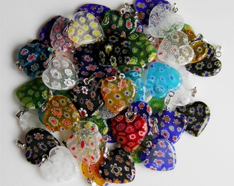 10 Millefiori Heart Glass Charms 20mm (008)
